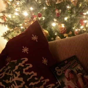 christmas cushion and christmas tree