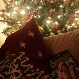 christmas cushion and christmas tree