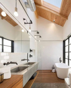 The sklight in this bathroom lets in floods of natural light