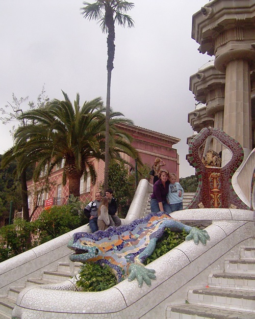 Spanish architect Antoni Gaudí's mosaic salamander in Barcelona