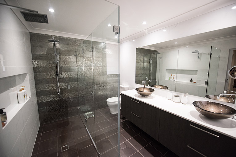 Bathroom with floor and wall tiles