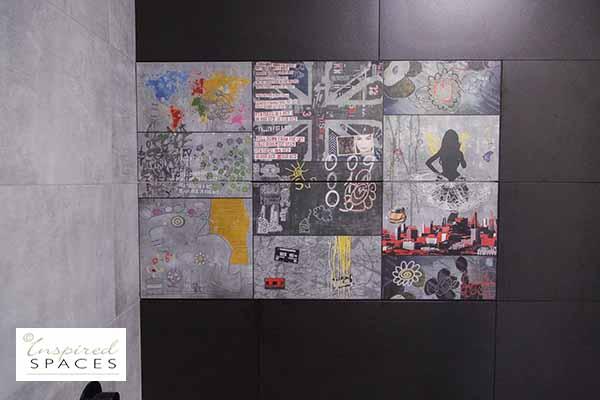 Graffiti feature tile
