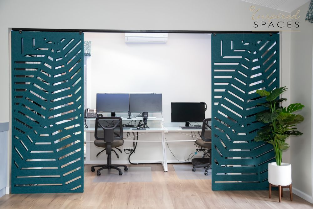 Home office with partition doors