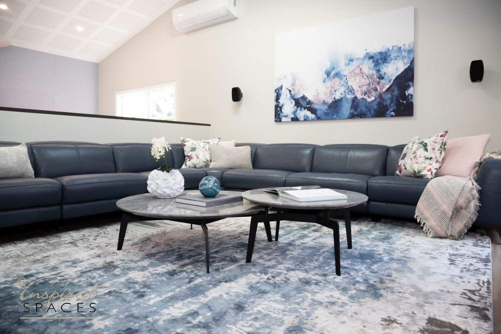 Grey blue and pink living room
