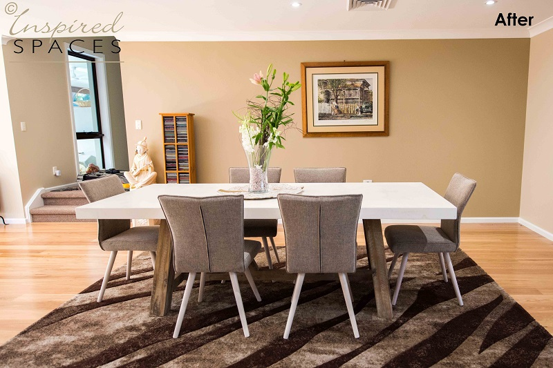 A comfortable and clean dining room after the renovation