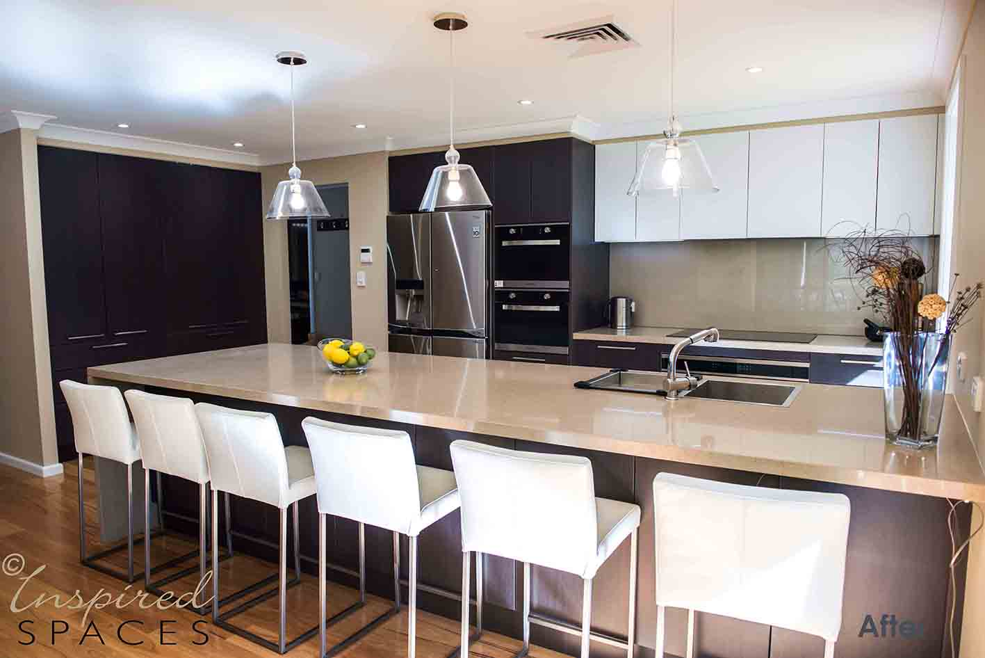 The new kitchen offers plenty of island bench space for food preparation