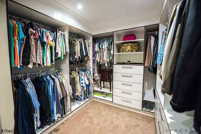 The spacious walk-in-robe in the master suite accommodates for all her and his clothing