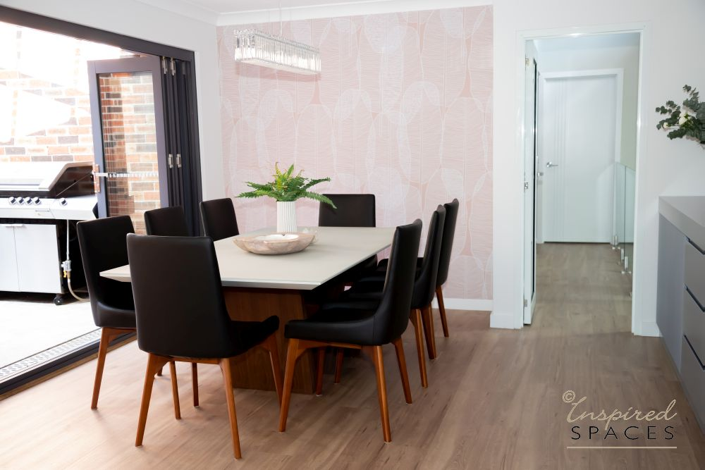 Dining area with accoustic wall panels