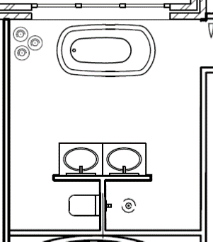 The proposed layout with the freestanding bath in front of the window and a set of pendant lights on the left