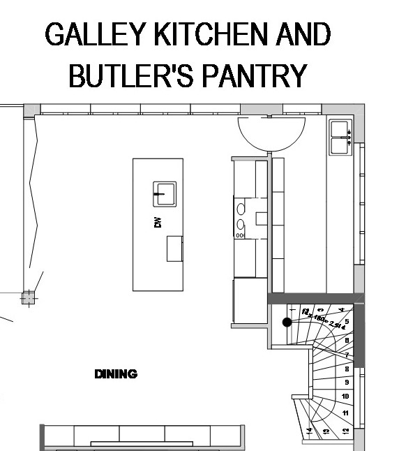 galley kitchen drawing