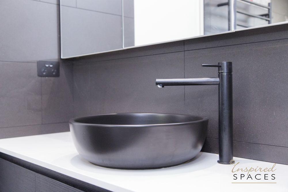 Metallic grey bathroom basin