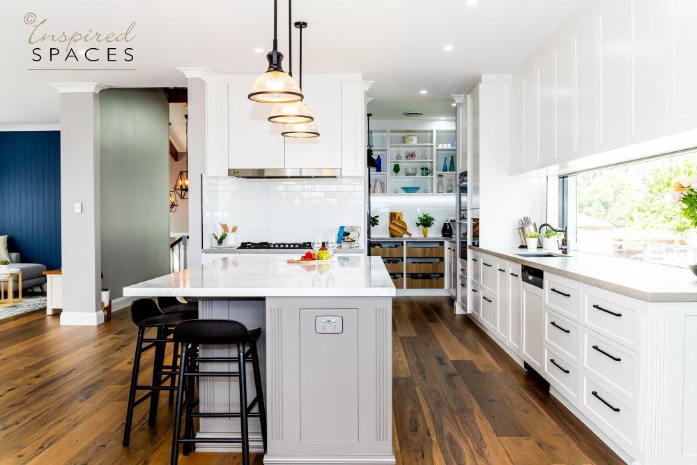 grey and white Hamptons kitchen