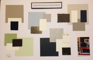 Mood board showing colour swatches and surface samples
