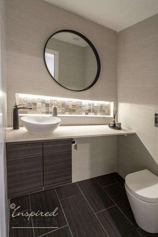 Bathroom vanity with niche on wall