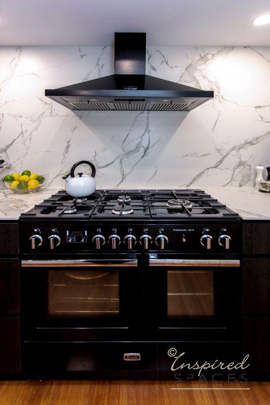 Black gas stove in modern kitchen