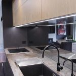 Rustic benchtop paired up with black sink