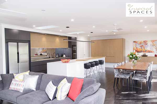 open plan kitchen and living with custom designed furniture