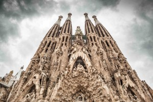 "Frontal view of ""La Sagrada Familia"" by Antoni Gaudi. Picture without cranes, cleaned digitally. Barcelona."