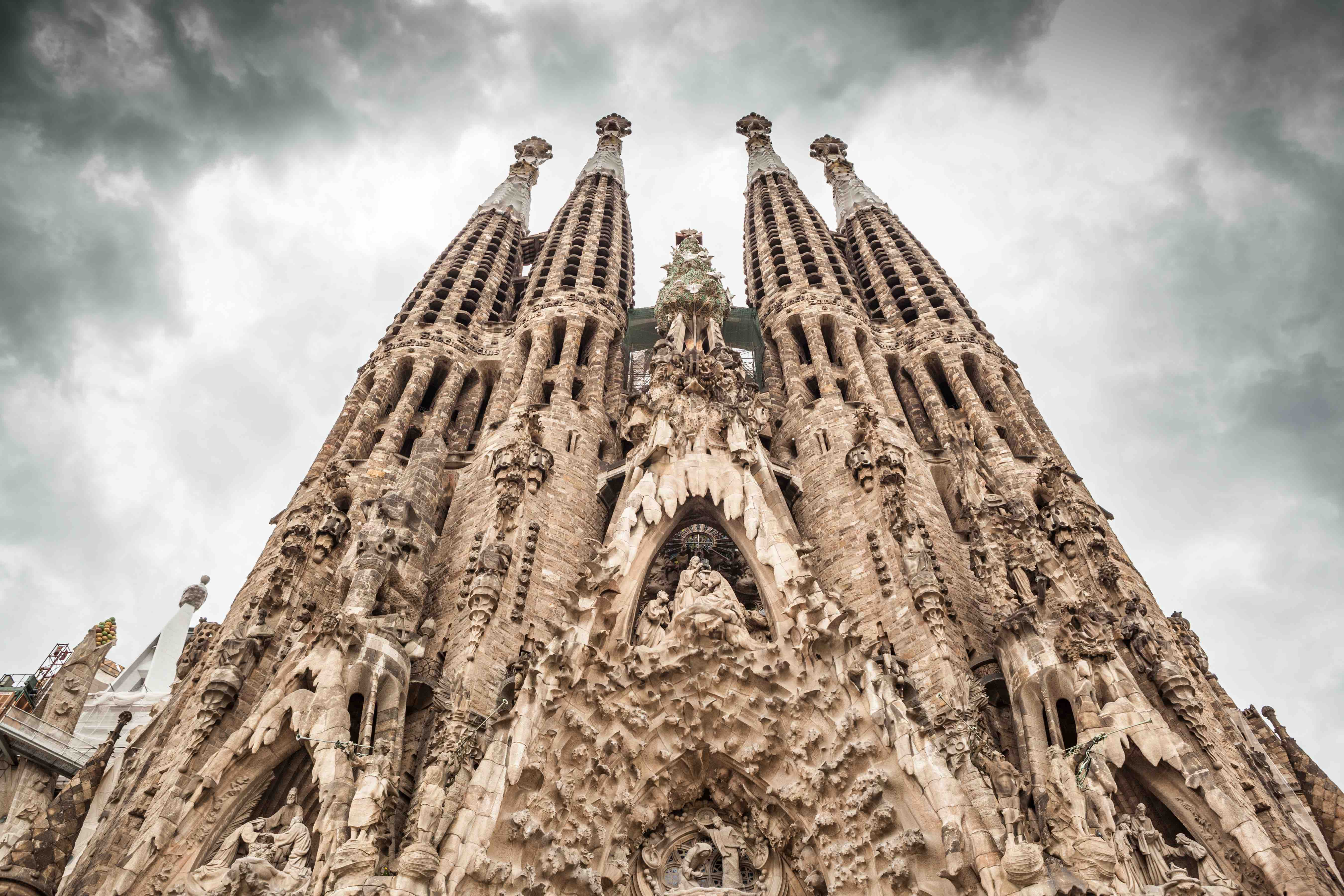 "Frontal view of ""La Sagrada Familia"" by Antoni Gaudi. Picture without ..."