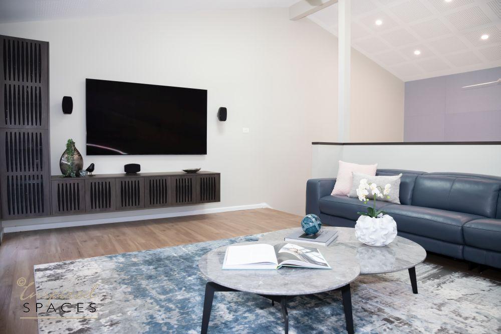 Blue rug in living room