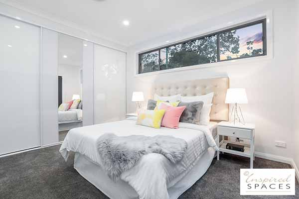 A contemporary and casual master bedroom