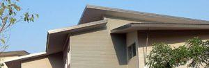 Single slopes of a skillion roof design
