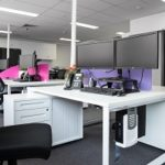 Ergonomic office design recently completed by Inspired Spaces. The pink and purple dividers represent the client's branding colours