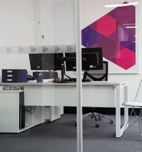 Your logo can be applied to the wall as a feature, but also in a more subtle way as a safety strip on the glass panels