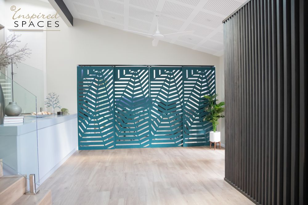 Turquoise partition doors in office