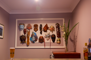 different design style masks made into feature artwork on wall