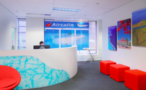 Bright and happy office design for travel agency