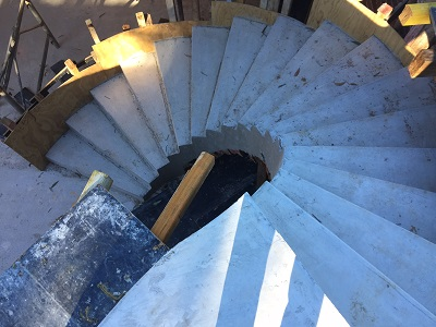 New spiral staircase in the Castle Hill home