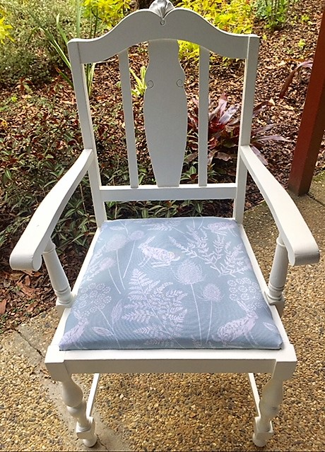 Timber chair furniture make-over with white paint and new fabric seat cover