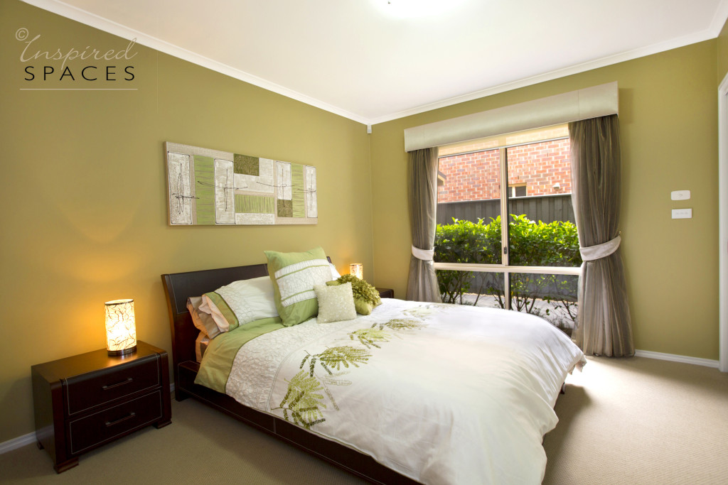 Bedroom with calming green walls
