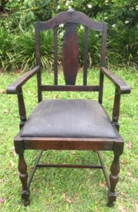 furniture make-over of old brown timber chair with brown leather seat