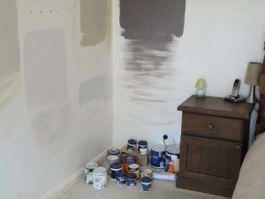 walls with sample paint colours painted on it