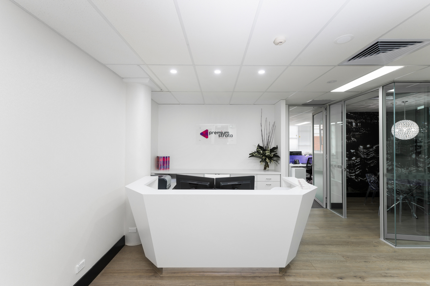 office reception area design. Premium Strata Office Reception Design - Inspired Spaces | Commercial And Residential Interior Sydney Hills Area