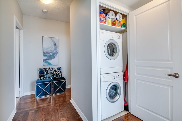 European laundry with stacked appliances