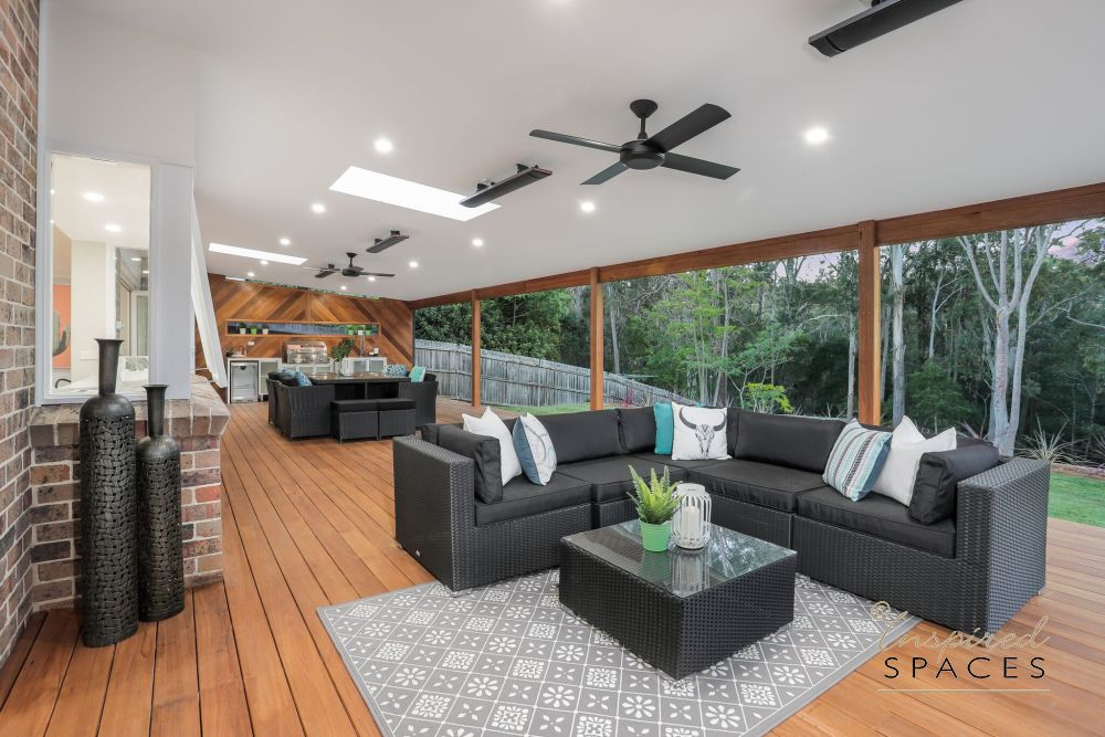 outdoor lounge, timber deck, ceiling fans, heaters