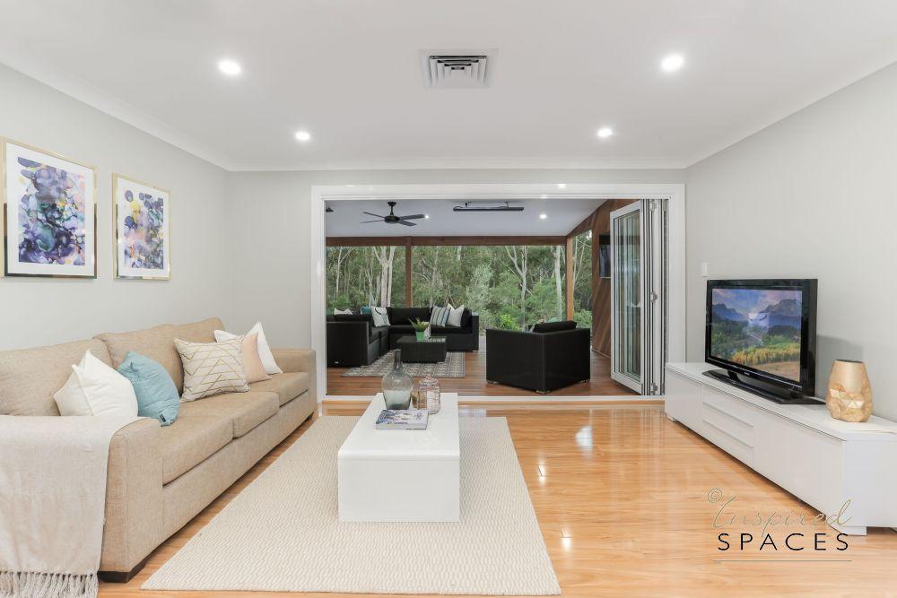 bi fold doors, timber flooring, rug,