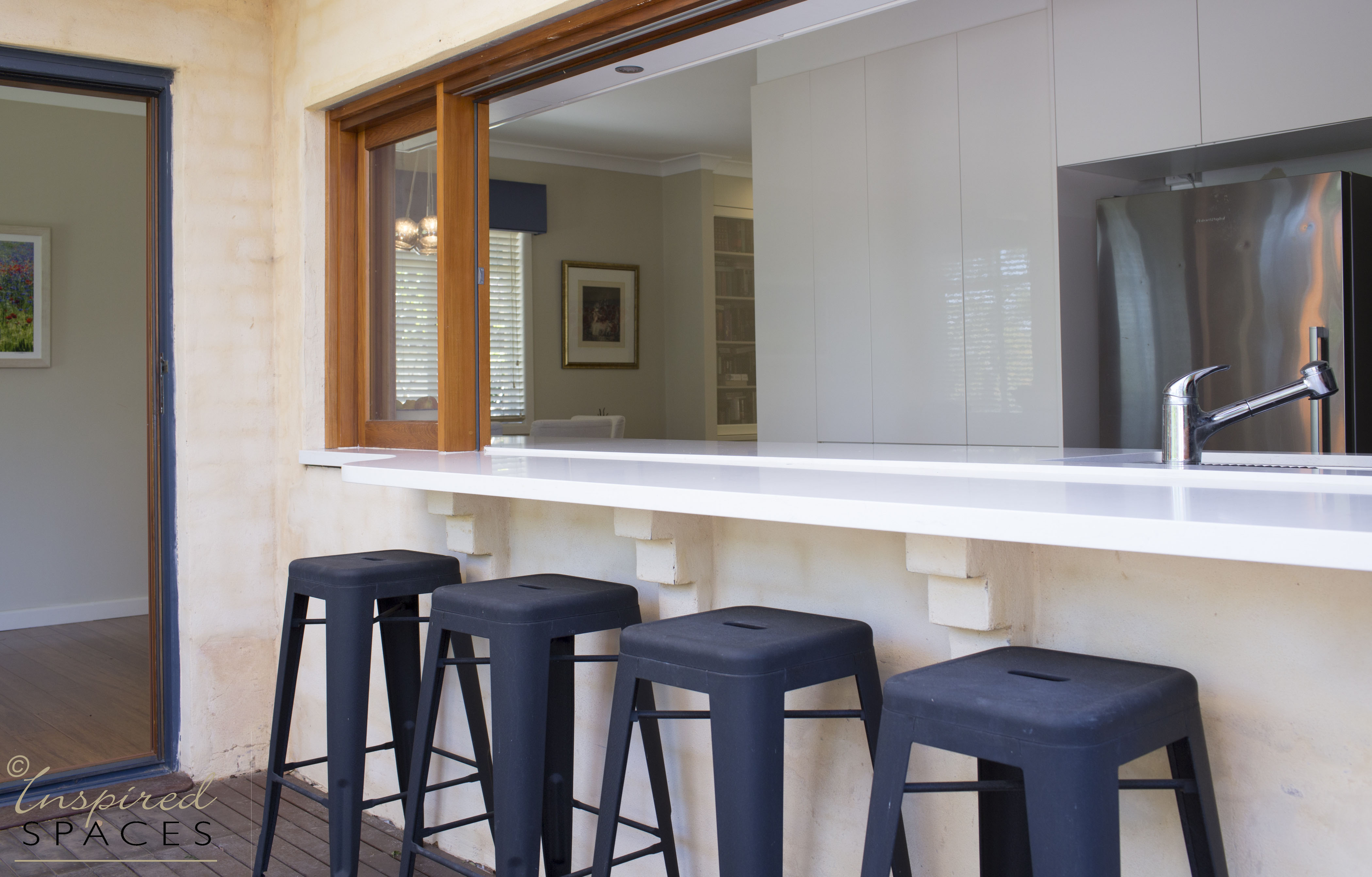 Bifold window in kitchen servery