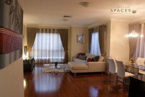 Bamboo in design on living room flooring