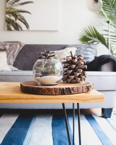 Close up of accessories on a coffee table infront of a sofa and over a blue and white striped rug