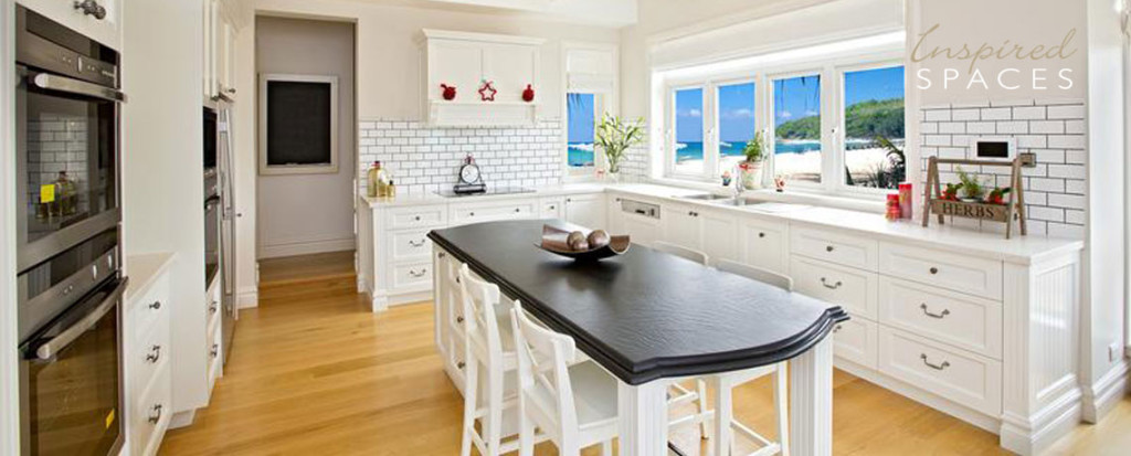 Timber casement windows in a Hamptons inspired kitchen