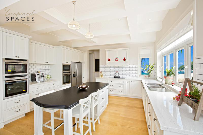 Hamptons inspired kitchen with island