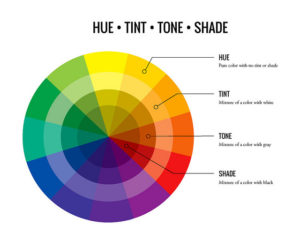 Colour wheel showing differences beween hue, tint, tone and shade