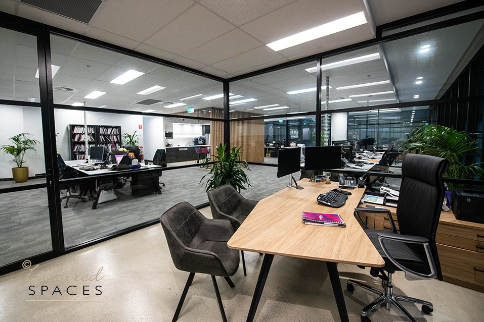 executive office with view to workstations