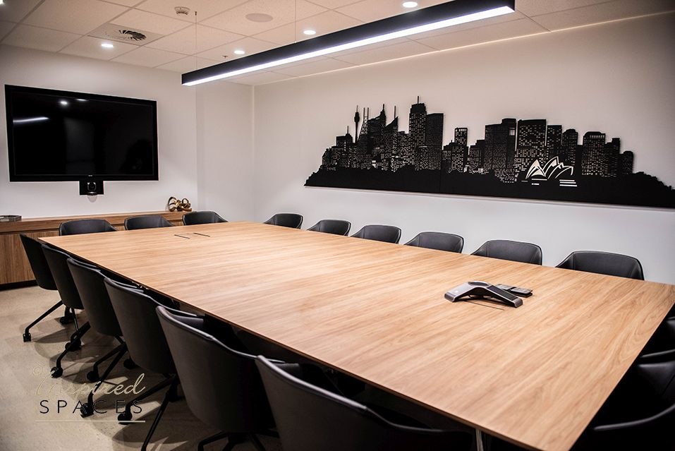 Meeting room with table, chairs, tv and custom sydney skyline wall art