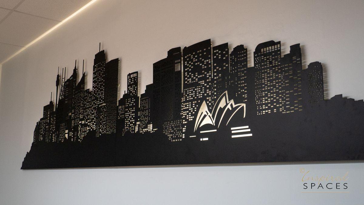 die cut mural of sydney skyline