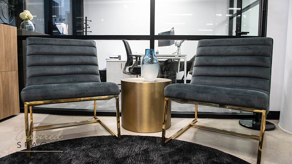 chairs and brass drum